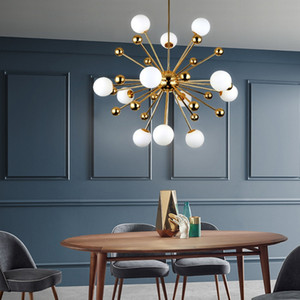 Postmodern Nordic Gold Sparkle Chandelier Light Firework Satellite Glass Balls Hanging Lamp Living Room Loft Suspension