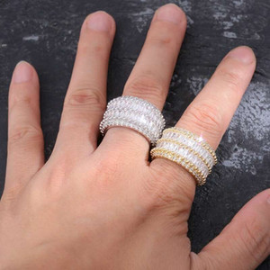 iced out rings for men hip hop luxury designer mens bling diamond gold silver ring 18k gold plated wedding engagement golden Ring jewelry bf