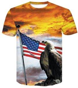 Top fan shop lettera di colore stelle di formazione Nuovo 3D bandiera americana stampata moda manica corta T-shirt casuale degli uomini allentata 2019 abbigliamento abbigliamento