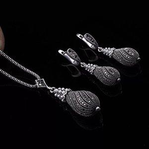 Brincos de cristal de pérola Pingentes Colares Conjunto Liga de metal Forma de cabaça retrô Banhado a prata Conjuntos de jóias para mulheres Presente da menina DHL GRÁTIS