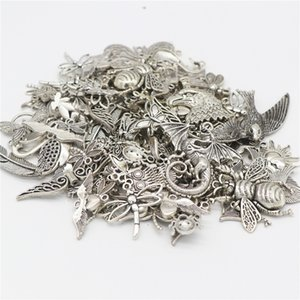 Tibetan Silver Alloy Bird Charms Pendants Wholesale Bulk Lots Jewelry Making Charms Mixed Smooth DIY for Necklace Bracelet Jewelry Making