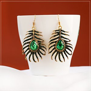 Женские тропические листья монстеры серьги Boho Vintage Green Stone Bead Water Drop серьги для девушки мода модные ювелирные изделия Bijoux