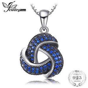JewelryPalace Created Blue Spinel Flower Pendant Necklace for Women Genuine 925 Sterling Silver Fine Jewelry NOT include a CHAIN J190523