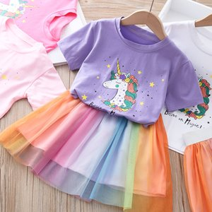 Girl Sets Princess Poppy Party Shirt Tops Tutu Skirt Colorful Kids Clothes Children Cotton 2pcs Toddler Baby Outfit 2-7Y