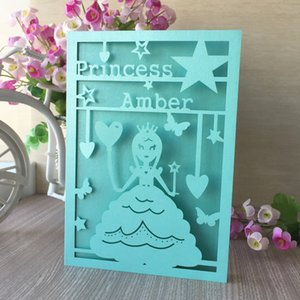 Tiffany blue beautiful princess hollow laser cut pearl paper Envelope 15th birthday party card supplier business dinner