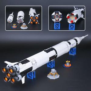 37003 Creative Series Lancement de véhicule de lancement Apollo Saturn V Enfants Blocs de construction Briques Jouet éducatif 21309
