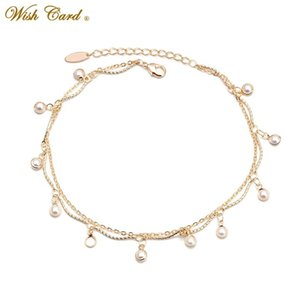 Wish Card Fashion Pearl Series Multi-style Drape Charm Anklet Beautiful Beach Travel Ladies Jewelry for Summer Vacation BD206
