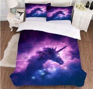 Galaxy Unicorn Пододеяльник Детские девушки Space пододеяльник 3 шт Розовый Фиолетовый Sparkly Unicorn Покрывало