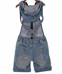 2018 Delik Denim Tulumları kadın Jean Tulumlar Kısa Pantolon Yıkanmış Kot Denim Rahat Tulum 4 Boyutları Y19071801