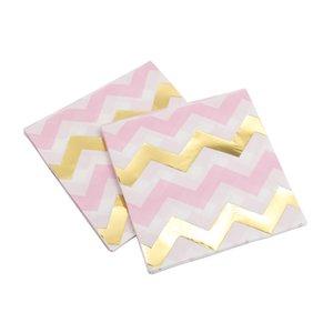 20pcs / lot Pembe Altın Folyo Dot Kağıt Peçete İçin Boy Kız Cinsiyet Parti Doku Peçete Dekorasyon Serviettes 33 * 33cm Ortaya