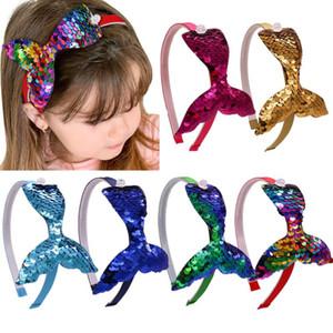 4.3 Inches Multi-layer Sequins Mermaid Headbands For Girls Rainbow Mermaid Pearls Hair Bands Handmade Headdress Hair Accessories