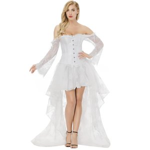 Women's Vintage Steampunk Long Lace Sleeve Bridal Corset Dress Victorian Retro Gothic White Corset Top Wedding Party Dress S-2XL