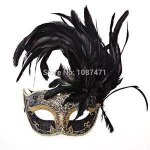 neue Art und Weise recht Weihnachten Frauen sexy Hälfte Gesicht Parteischablonen Hochzeit Prinzessin Maskerade Feder-Masken Ball italienischer halloween T200116