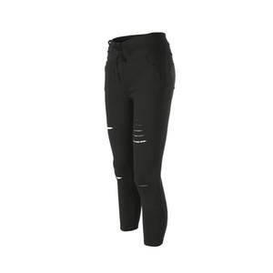 New mulheres magras joelho rasgado Buraco atadura Jeans Sólidos Pants Chegada cintura alta estiramento Magro lápis calças