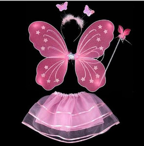 Crianças meninas Fairy Princess Costume Define desgaste colorido estágio Butterfly Wings Wand Headband Tutu Saias GB1362