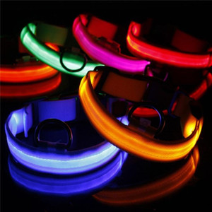 2020 USB Cable LED Nylon Dog Collar Dog Cat Harness Flashing Light Up Night Safety Pet Collars multi color XS-XL Size Christmas