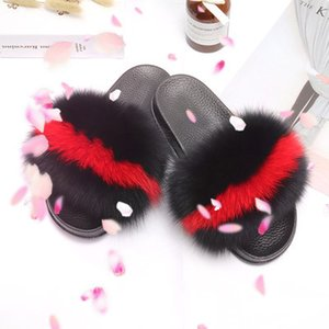 New fur slides custom fur fox slippers fur fox slippers woman