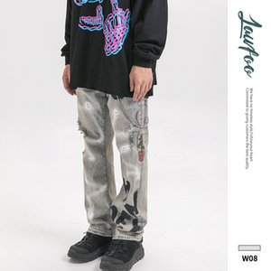 19 yeni kış erkeklerde delik baskı püskürtme LawFoo orijinal ülkeler yüksek sokak eski kot pantolon yapmak
