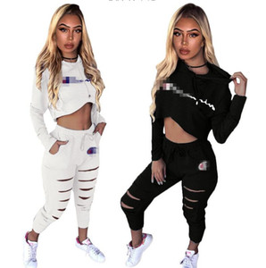Womens Champions Sport Tracksuit Felpe con cappuccio + Pantaloni 2 Pezzo Donna Set Outfit Hollow Out Solid Color Womens Sweats Sweats Sweatsuits Vestiti