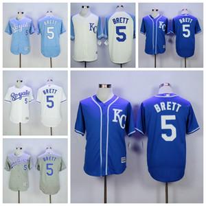 2018 Stil Beyzbol 5 George Brett Jersey Erkekler Flexbase Taban Takım Renk Mavi Beyaz Gri Bej Tüm Dikişli Yüksek Kaliteli İndirim Ucuz Soğuk