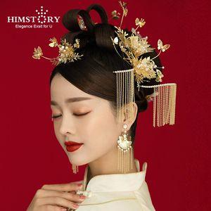 HIMSTORY New-style Bride's Ancient Hair Tiaras Chinese Traditional Phoenix Crown роскошные классические свадебные аксессуары для волос