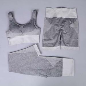 GXQIL 3 Piece Gym Woman Sportswear Seamless Fitness Suit 2020 Yoga Set Women Jogging Femme Sports Bra Shorts Leggings Kit Gray