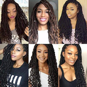 1Pcs Lot Goddess Locs with Curly Ends Crochet Twist Soft Synthetic Braiding Hair Extension 24 Roots (18inch 1-PACKS 1B)