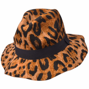 Women Hat New Winter Leopard Female Woolen Hat Large Brimmed Hat Millinery Fashion Purple retro travel