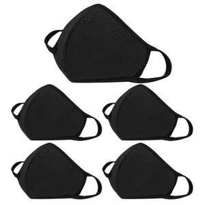 5pcs Black Fashion Face-masque pour la protection Germ Pour adultes coton respirant Bouche Visage Maskswashable et réutilisable Maskking Nouveaux