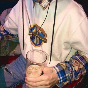20FW bleu géométrique Logo Film High Street Simple Casual T-shirt de couleur unie manches courtes Hommes Femmes d'été T-shirt ras du cou HFHLTX100