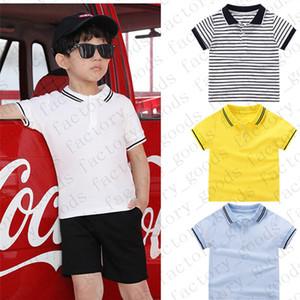 Kids Solid Color Tees Striped Polos T Shirt Kids T-shirt Summer Short Sleeve Sports Top Casual Tees Fashion Boys Girls T Shirts CZ311