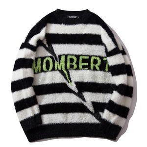 남성 스트라이프 스웨터 풀오버 힙합 스트리트 레트로 터틀넥 스웨터 하라주쿠 니트 스웨터 블랙 레드 가을 겨울