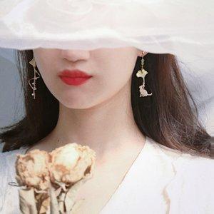 S925 Silver Needle Super fada Temperamento rosto fino francês fresco Asymmetric Ear Studs Sem piercing orelha clipe