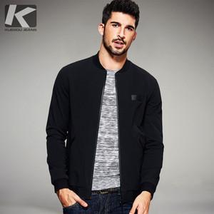 Desgaste Slim Fit ropa masculina KUEGOU 2017 para hombre primavera casual y chaquetas capas finas de color Negro Marca Ropa Para Hombre Tops de 2067
