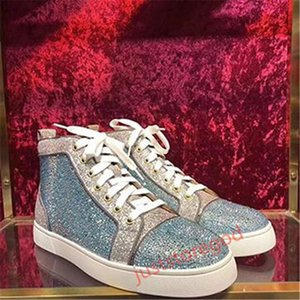 ACE red bottom luxury designer brand spike shoes flat bottom casual shoes men and women party lovers leather rivets sequins Hococal