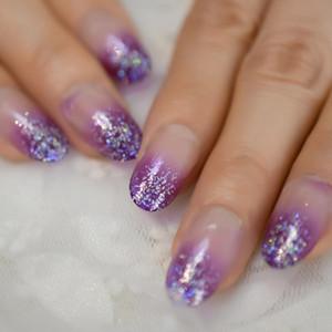 Yanlış Çiviler Büyüleyici Mor Bling Glitter Ombre Oval Temizle Jel Tasarlanmış Nail Art İpuçları 24 Sayısı