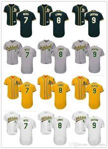 De Hombres Mujeres Jóvenes Majestic atletismo jersey # 7 Walt Weiss 8 Joe Morgan 8 Jed Lowrie 9 Reggie Jackson Inicio jerseys al por mayor de béisbol