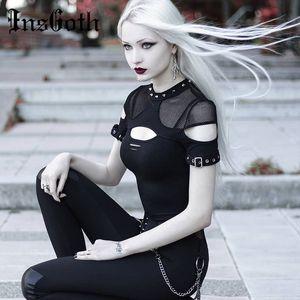 InsGoth Frauen-T-Shirts Gothic Punk Chix schwarze T-Shirts beiläufige dünne Ineinander greifen-Loch-Niet Sexy Short Sleeve Top Hip Hop Female Goth Top T200110