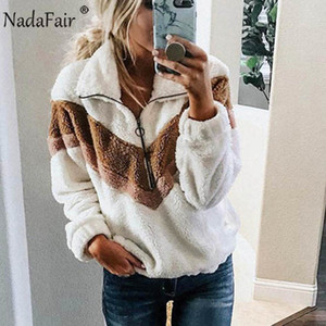 Nadafair beiläufigen Fleece-Sweatshirt Frauen 2019 Patchwork Zip-Pelz-Maxi-Winter-Fluffy Hoodie Female Plus Size Pullover Y200706