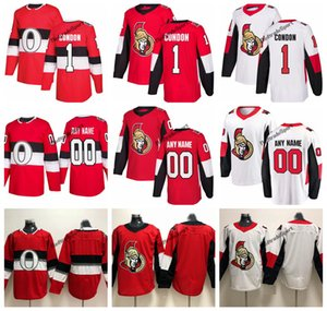2019 Mike Condon Ottawa Senators Hockey Jerseys 100th Classic Mens Custom Name # 1 Mike Condon camisetas de hockey cosidas S-XXXL