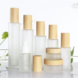 30ml / 40ml / 60ml / 80ml / 100 ml en verre givré cosmétiques POMMADIER Bouteille Crème Visage Bouteille Pot Lotion Pompe en plastique avec imitation bambou Couvercles