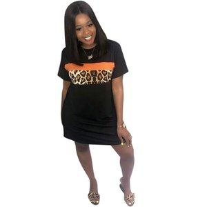 Leopard lambrissé Femmes Designer Robe Tshirt mode Styles Robe d'été à manches courtes dames Vêtements décontractés pour femmes