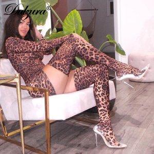 Dulzura леопард женщины мини-платье с перчатками и носками длинного рукава Bodycon сексуальной вечеринка 2019 осень зима Клубна ужином