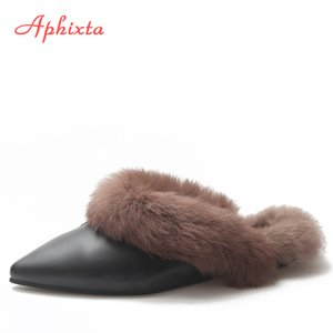 Aphixta Spitzschuh Frauen Hausschuhe aus 100% Echttierpelz Mules Schuhe Buckle Schuhe Echthaar Slippers Frauen-Pelz-Schuhe Frau