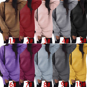 Herbst-Winter-Strickkleid Frauen Warm Strick Split Hoodie Röcke lose Maxi-Mode-Mädchen Lange Pullover Solid Color Turtlenecks Kleider