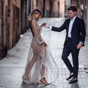 Long dreamlike see through praty dresses deep v-neck backless runway fancy customized sequin long sleeves women clothing