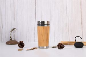 Vaso de bambú de 15 oz Taza de viaje ecológica de bambú Vaso de acero inoxidable original con tapa fácil y limpia a prueba de salpicaduras