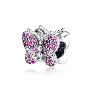 Novo 100% 925 Sterling Silver Dazzling borboleta rosa Charme rosa cristal Beads encaixa Original Marca DIY pulseiras fazer jóias