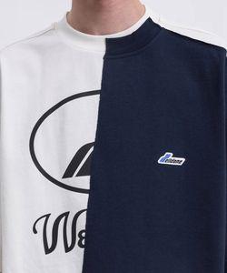 Logo WE11DONE Negro Marfil Remake reflectante La mitad de la camiseta Welldone SpliceT Camisetas Casual cadera de gran tamaño camiseta de los hombres de las mujeres Hop Streetwear