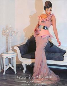 2019 Nueva flor de raso con cuentas Vestidos largos con cinturón de astilla Vintage Pink Tulle encaje un hombro sirena vestido de noche Vestido De Festa